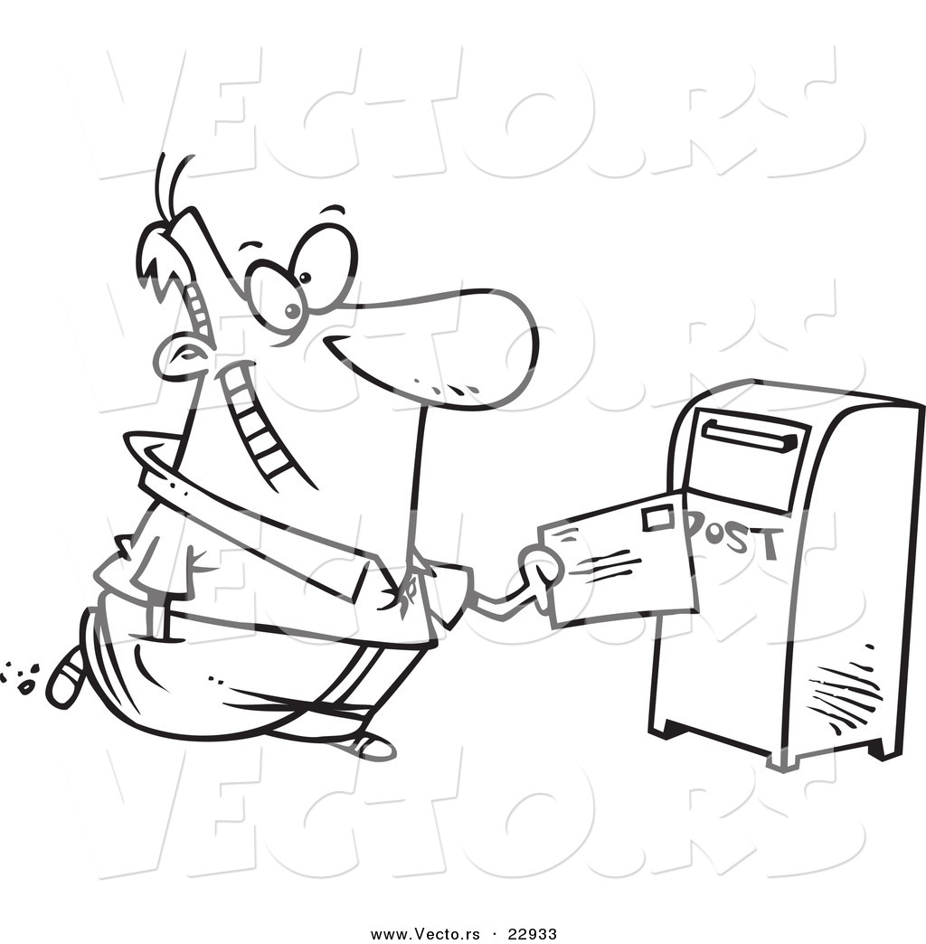 Free coloring pages by mail - Vector Of A Cartoon Man Sending Off Mail Coloring Page Outline