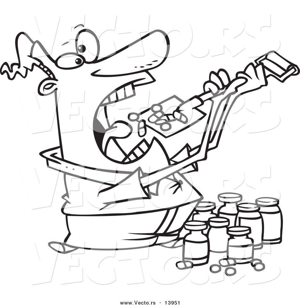 vector of a cartoon man shoveling dietary supplements into his mouth