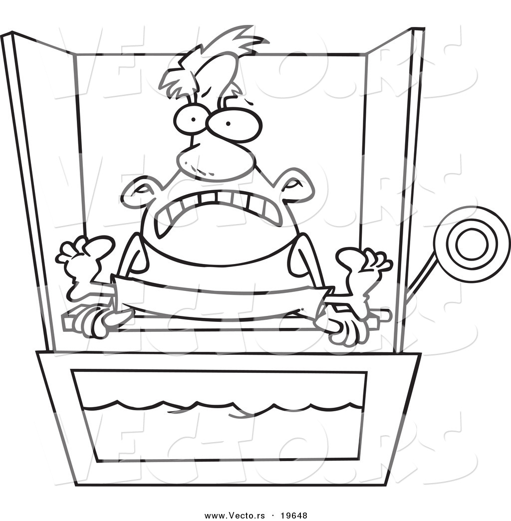 Vector Of A Cartoon Man Sitting On Dunk Tank