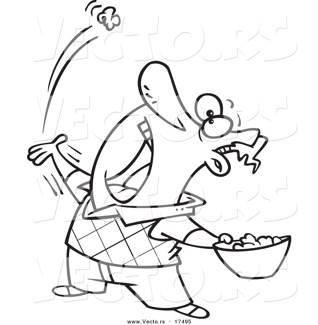 Vector Of A Cartoon Man Skillfully Tossing Popcorn Into His Mouth
