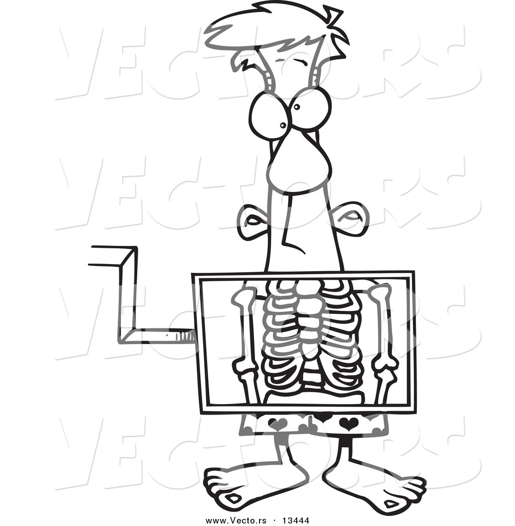 X Ray Line Drawing : Vector of a cartoon man standing behind an xray machine