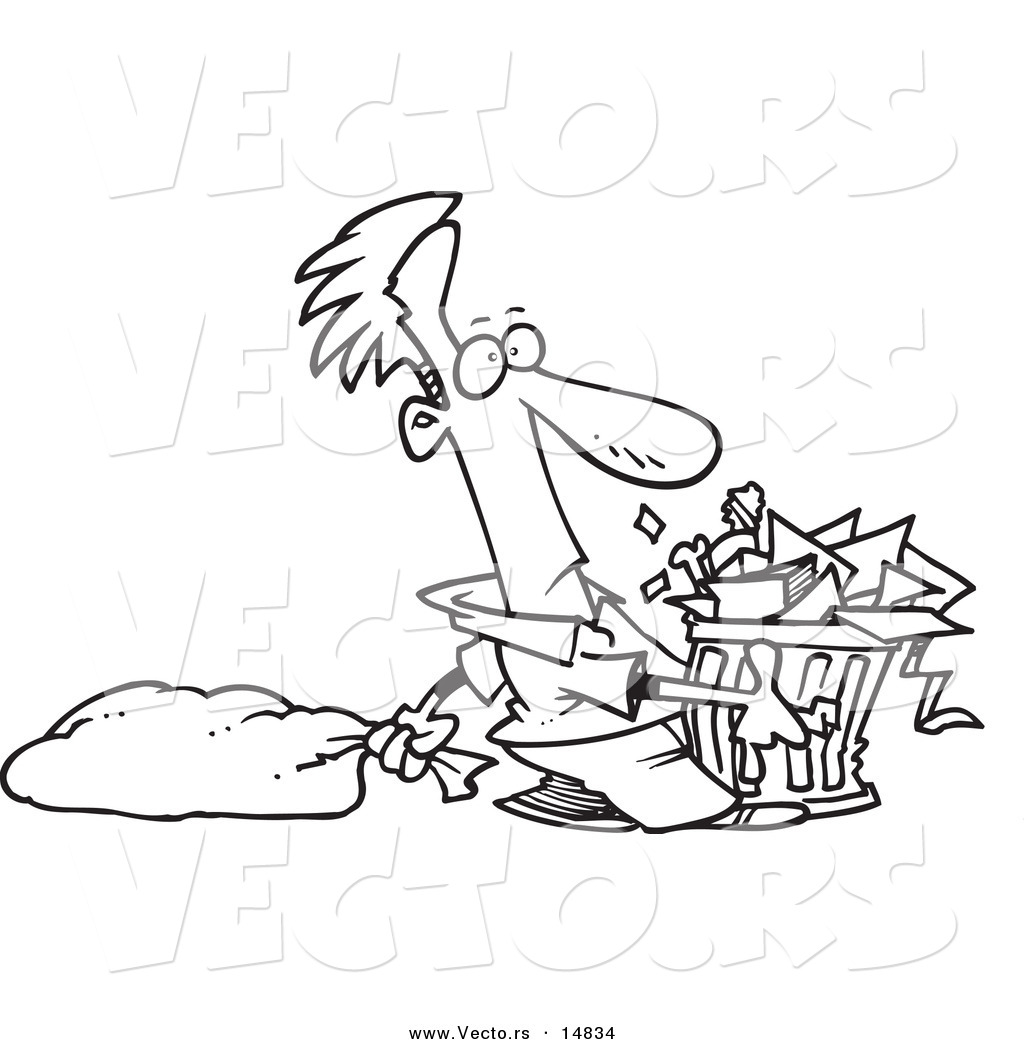Coloring Page With Trash Can Stock Vector - Illustration of ... | 1044x1024