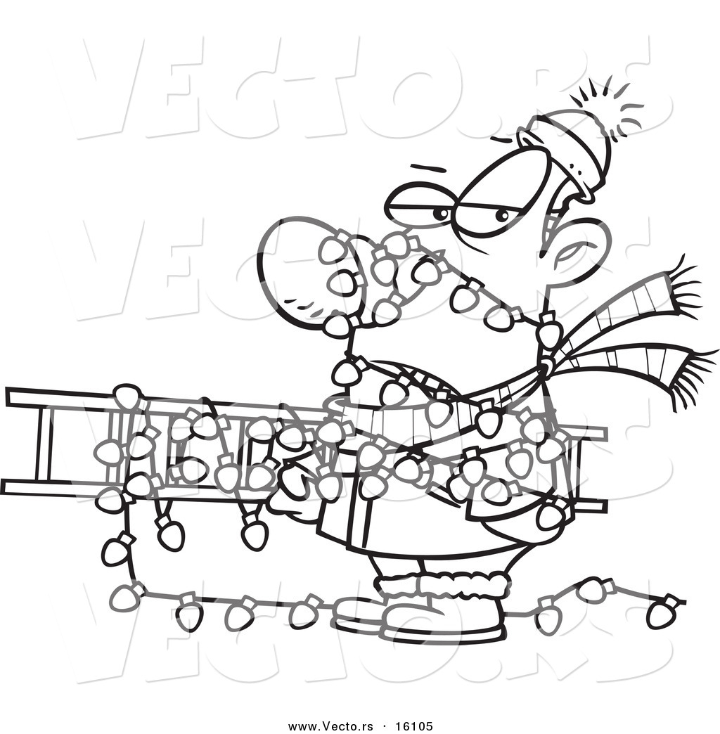 String Of Lights Coloring Page : Vector of a Cartoon Man Tangled in Christmas Lights, Carrying a Ladder - Outlined Coloring Page ...