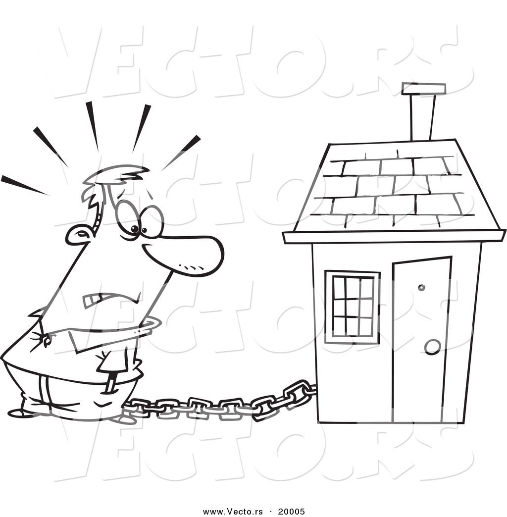 Coloring book real estate - Vector Of A Cartoon Man Tied To A House With A Mortgage Chain Outlined Coloring