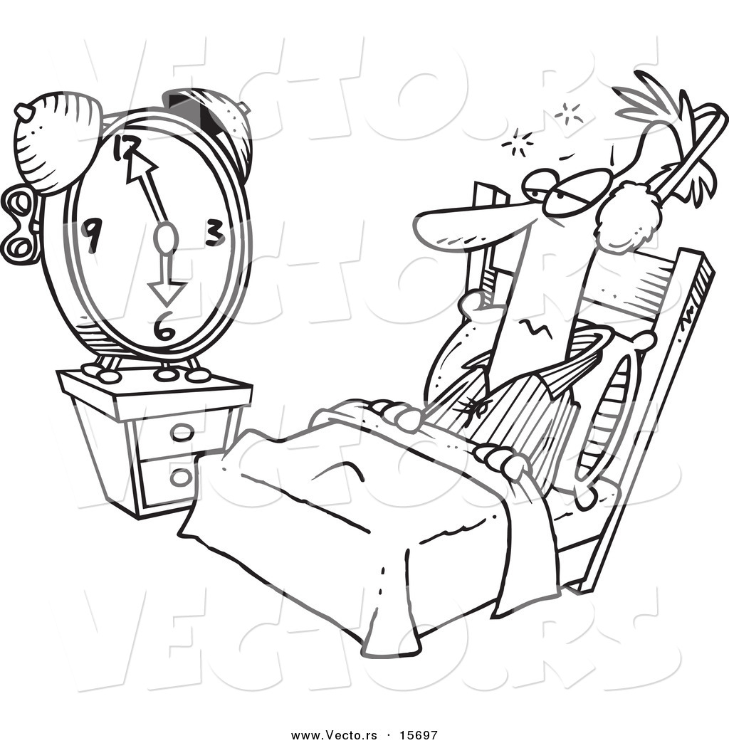 Vector Of A Cartoon Man Tuning Out An Alarm Clock With Ear Muffs