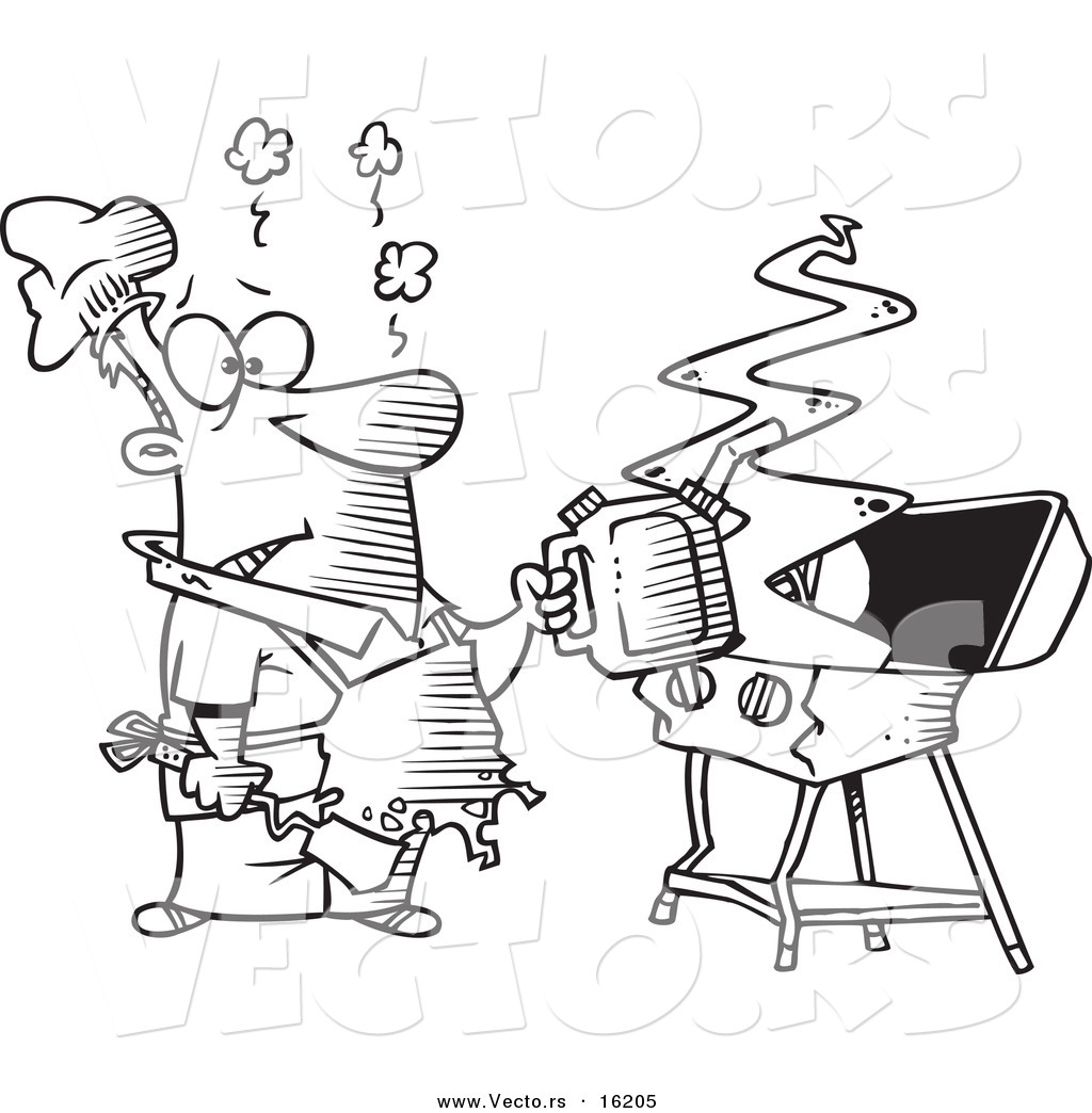 Vector of a Cartoon Man Using a Gas Can to Ignite His Bbq ...
