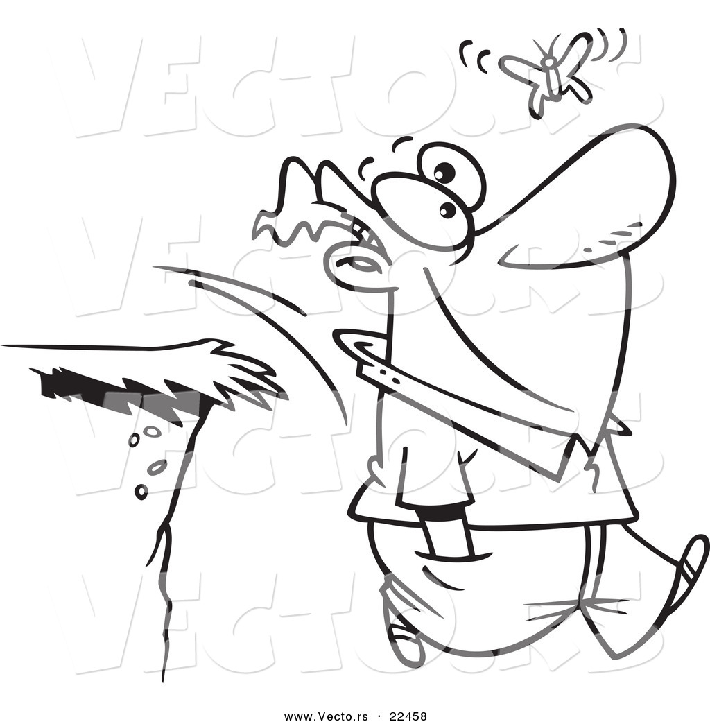 Vector Of A Cartoon Man Walking Off Cliff While Following Butterfly