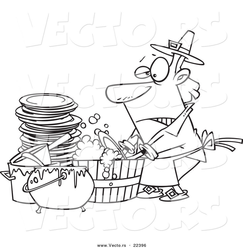 Of A Cartoon Man Washing Dishes In Barrel Coloring Page Outline