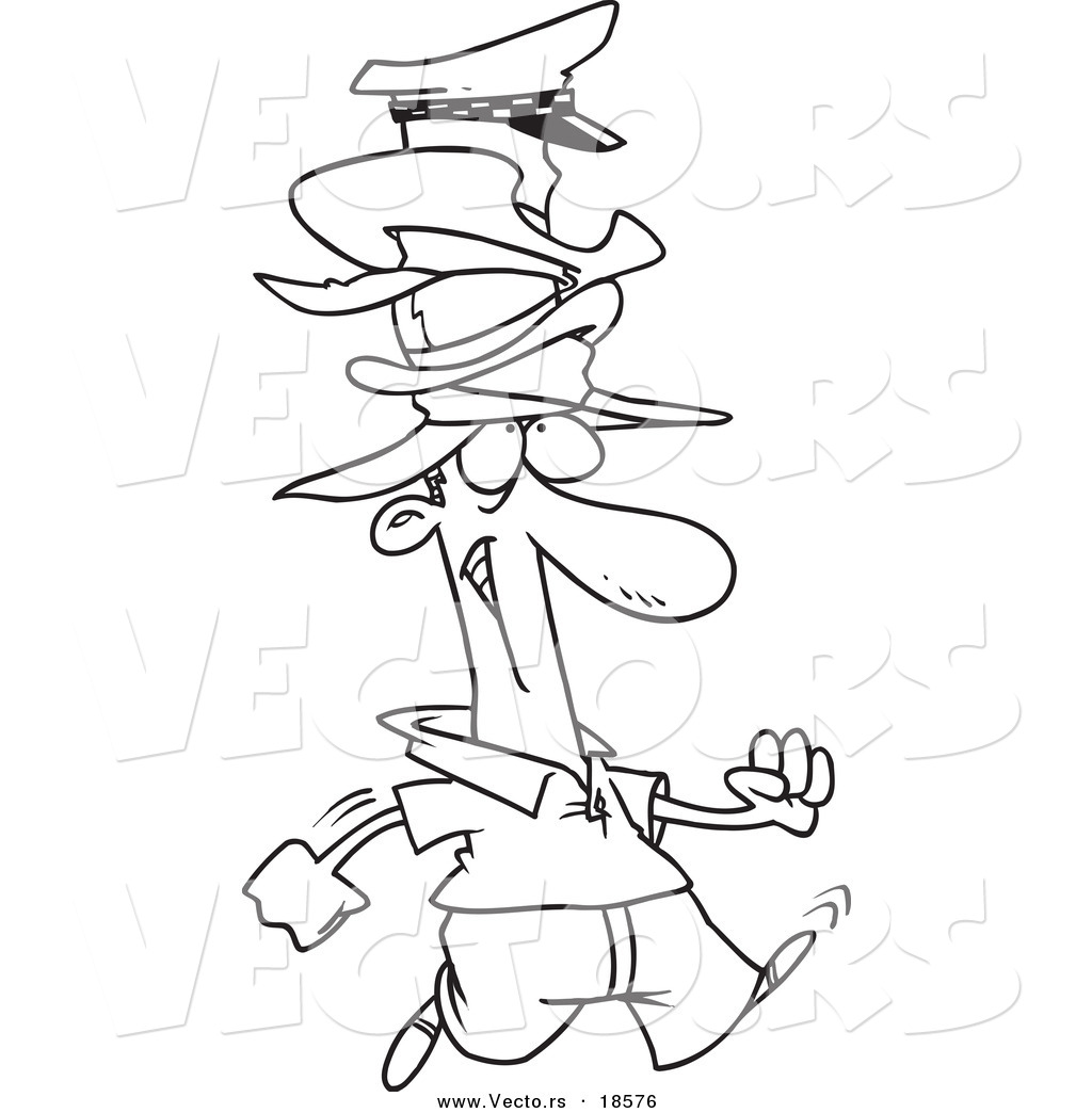 vector of a cartoon man wearing many hats outlined coloring page