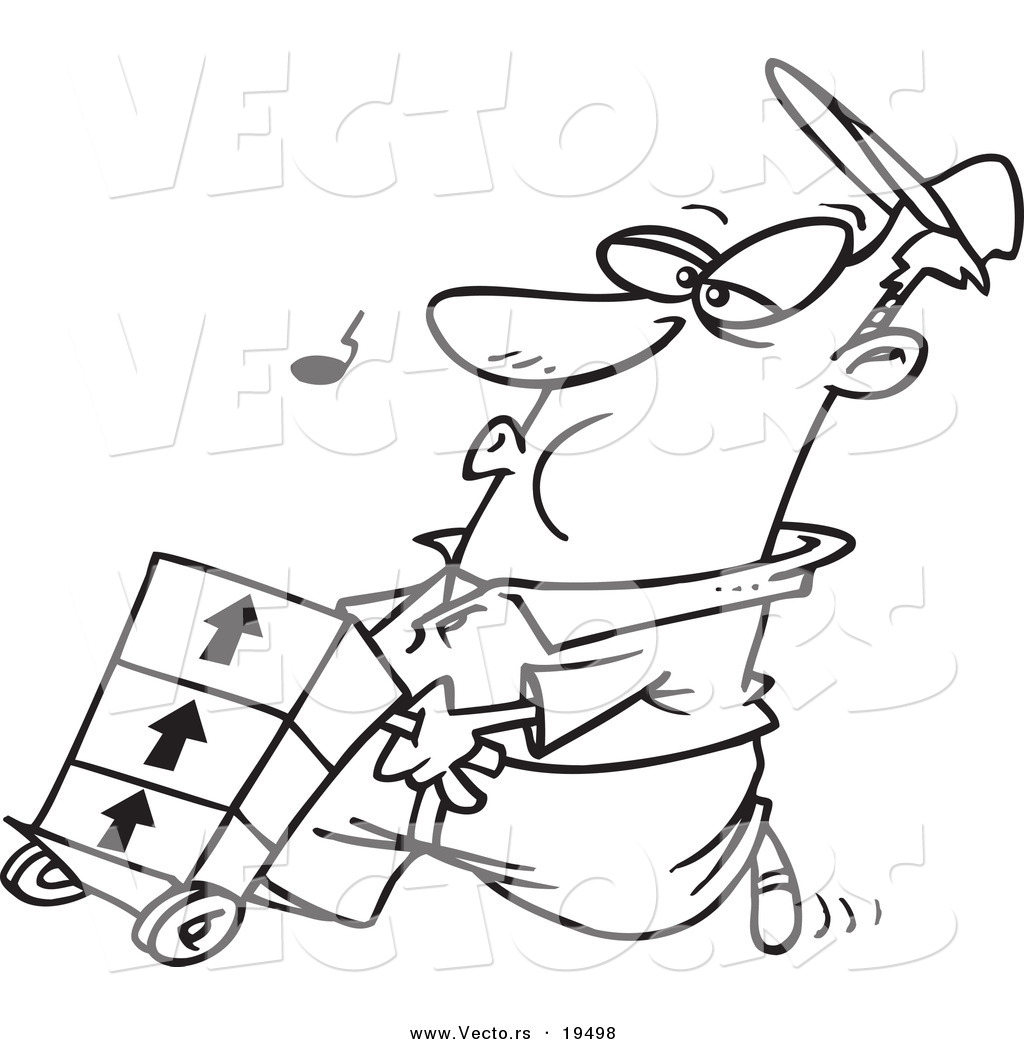 vector of a cartoon man whistling and pushing a dolly outlined