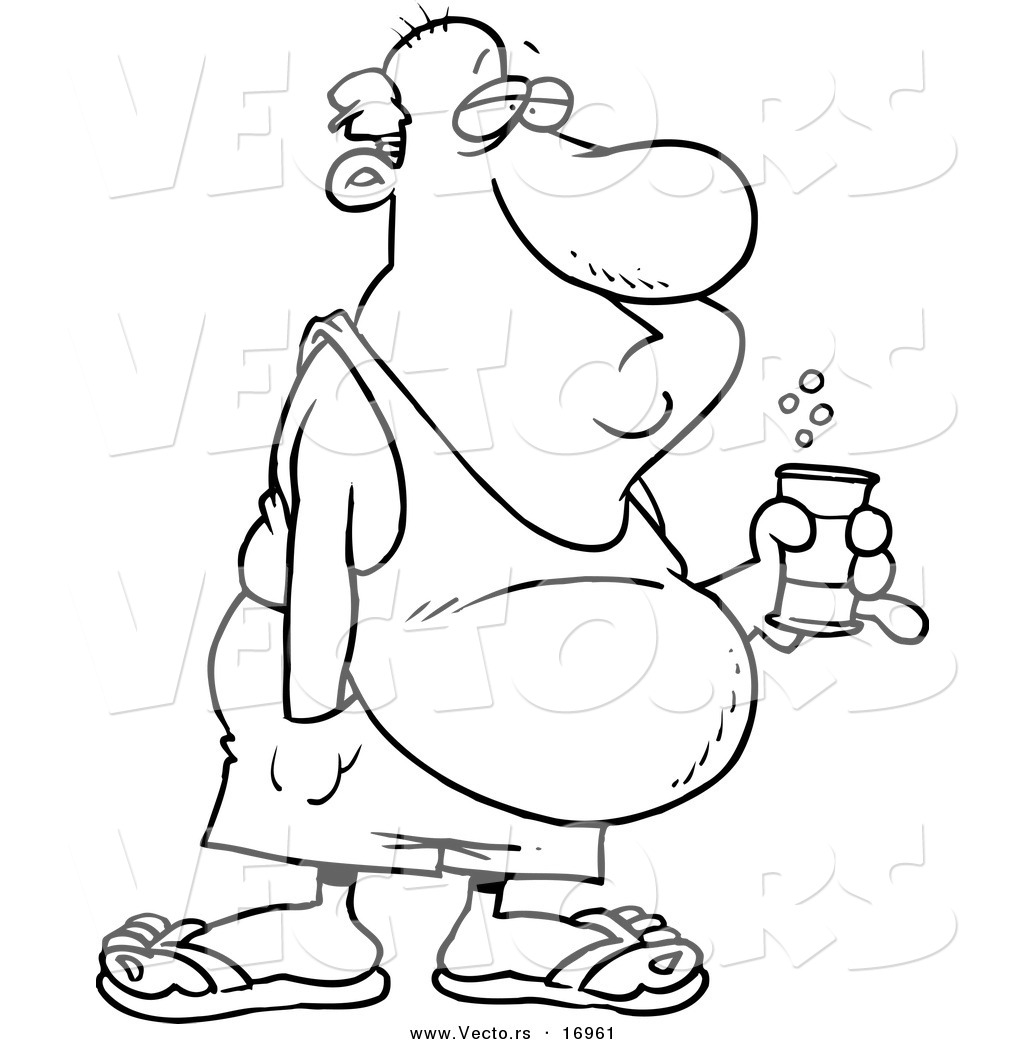 Vector Of A Cartoon Man With Beer Belly And Canned Beverage