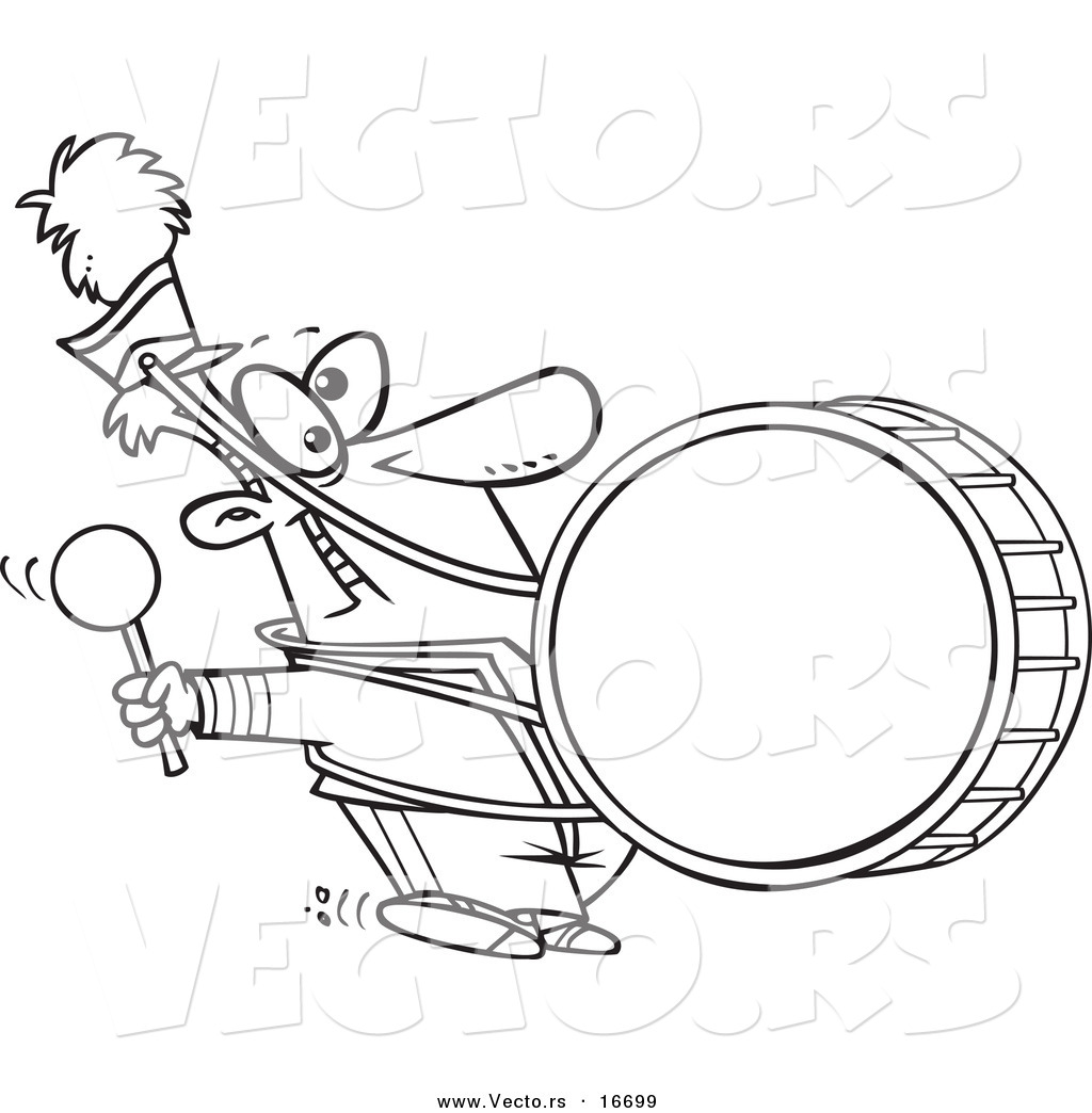 vector of a cartoon marching band drummer outlined coloring page drawing