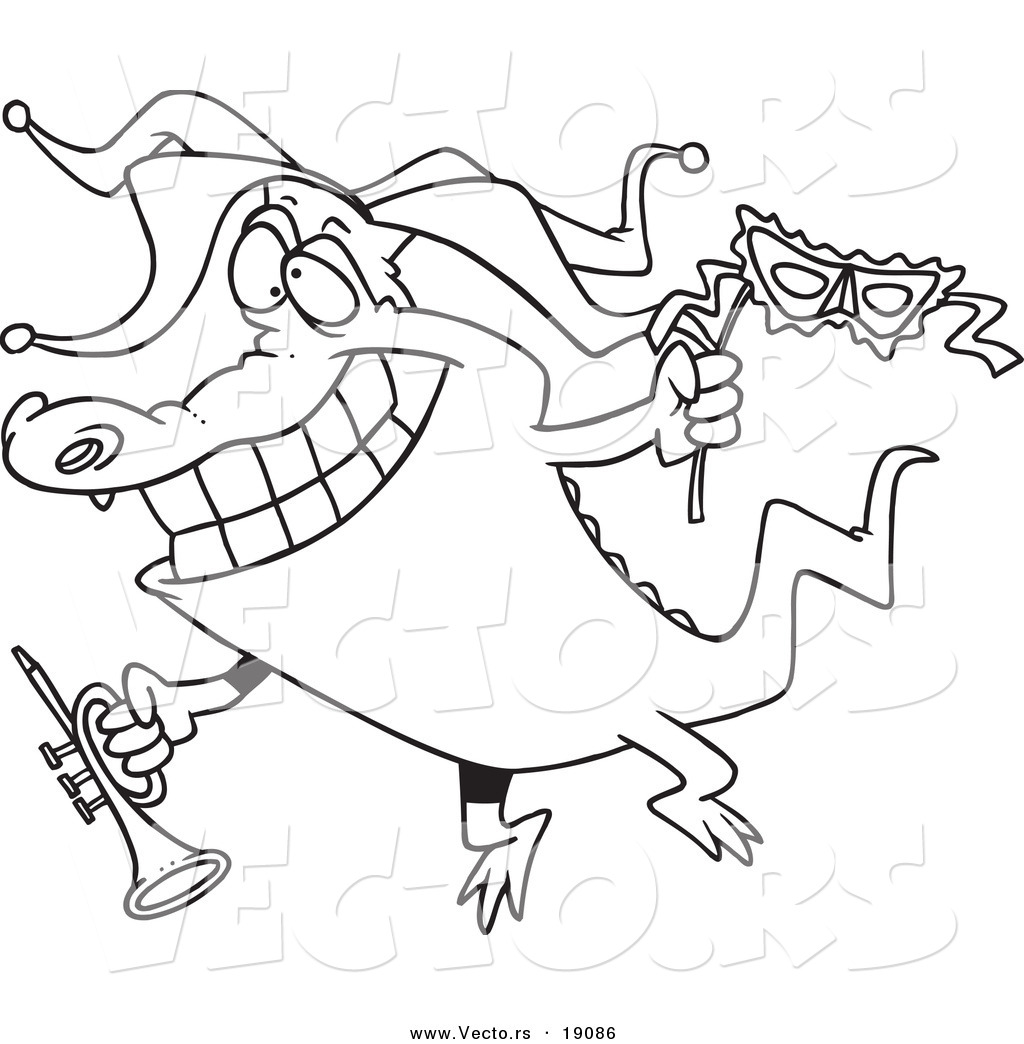 vector of a cartoon mardi gras crocodile holding a trumpet outlined coloring page