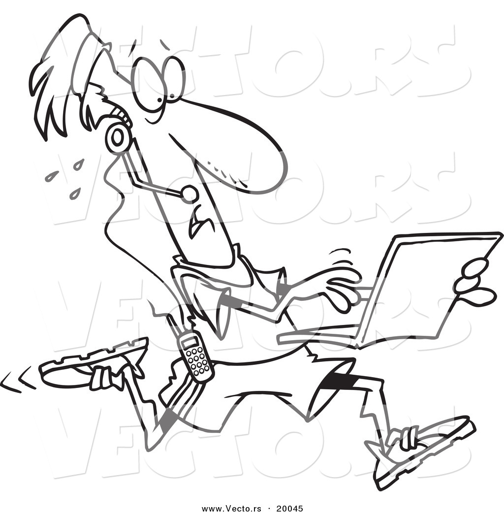 vector of a cartoon mobile jogger using a laptop outlined