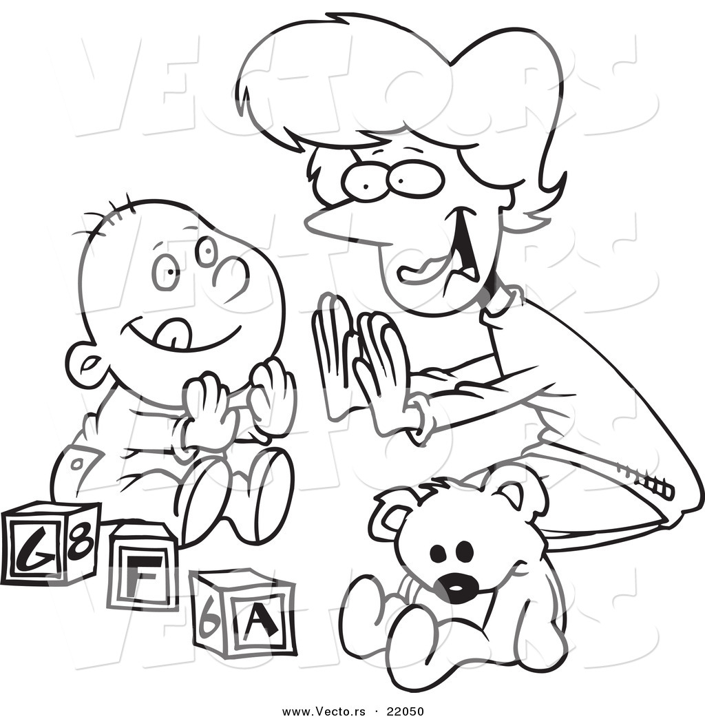 Vector Of A Cartoon Mom Playing Patty Cake With Her Baby Outlined