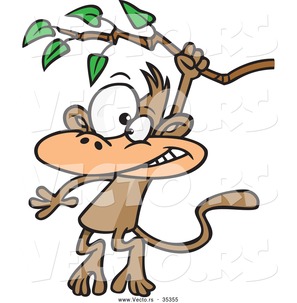 Vector Of A Cartoon Monkey Swinging From A Treen Branch By