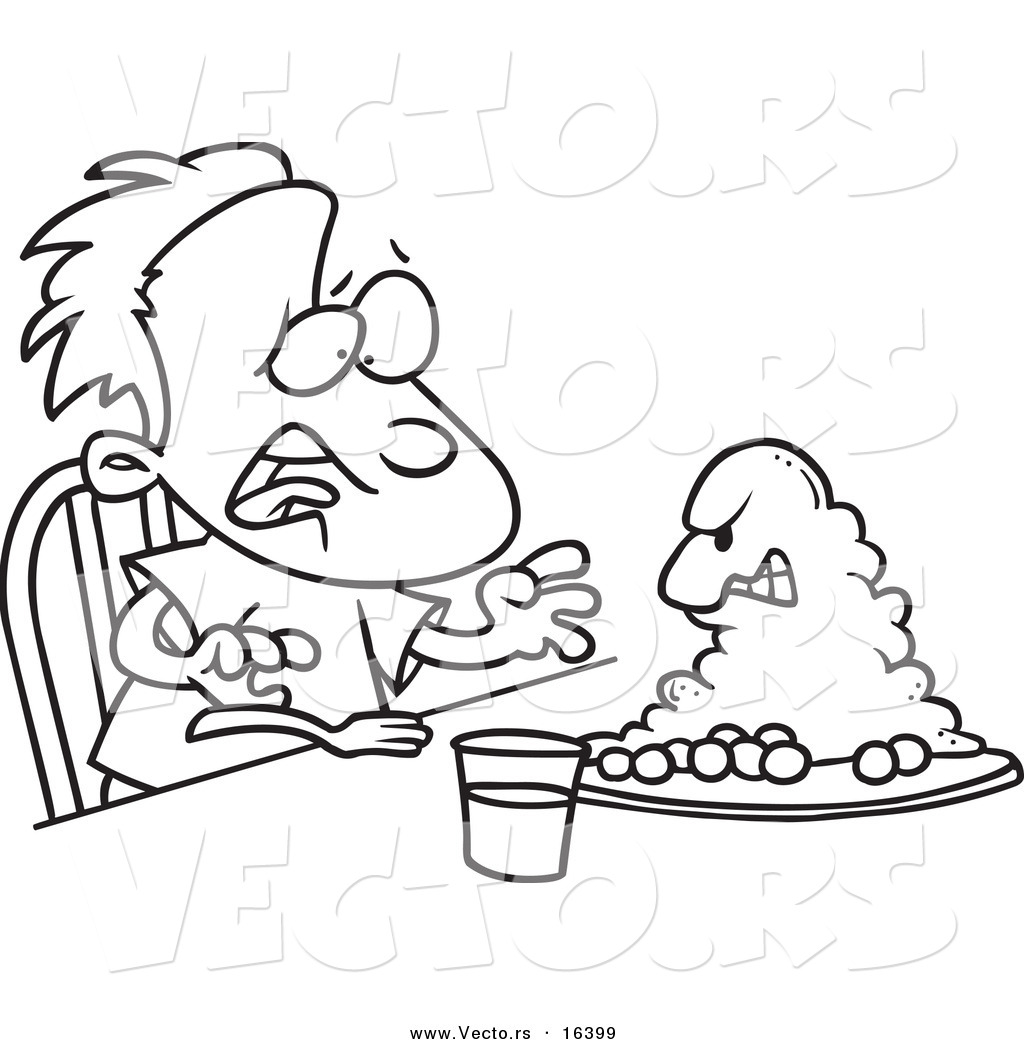 Vector of a Cartoon Monster Emerging from a Boy's Dinner Plate - Outlined Coloring Page Drawing