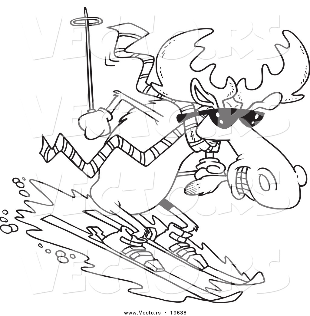vector of a cartoon moose skiing downhill outlined coloring page