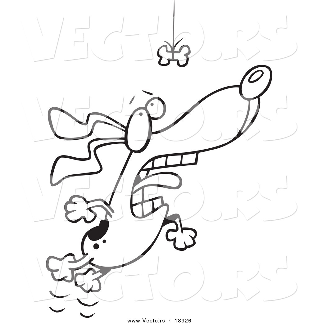 Vector of a Cartoon Motivated Dog Leaping for a Suspended ...