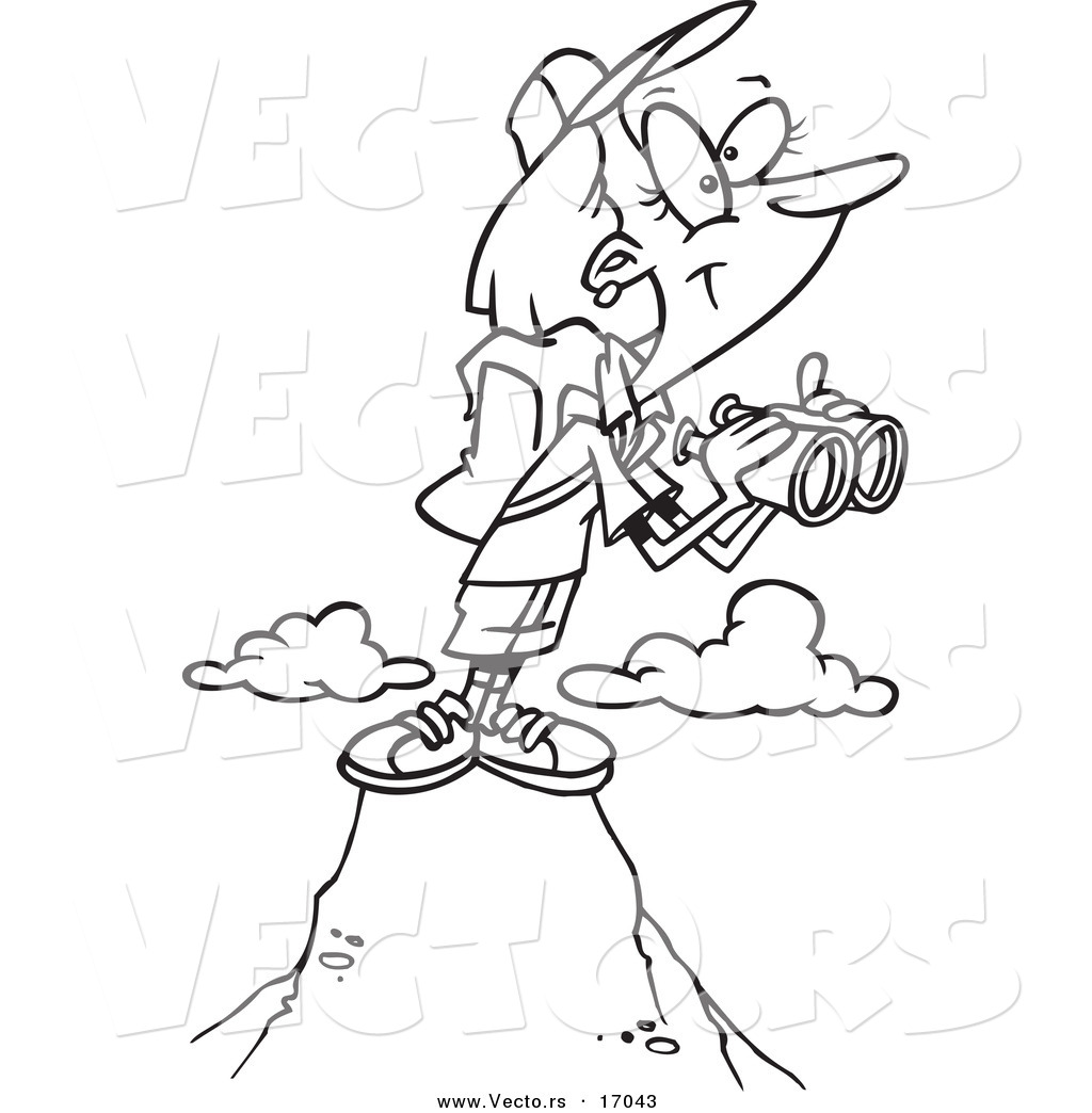 vector of a cartoon mountain with binoculars coloring page