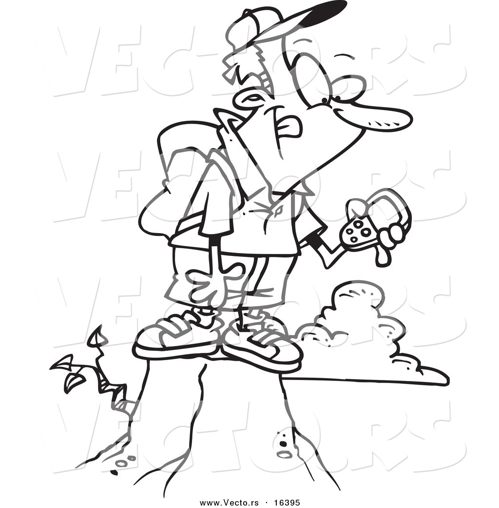 vector of a cartoon mountain with his gps device