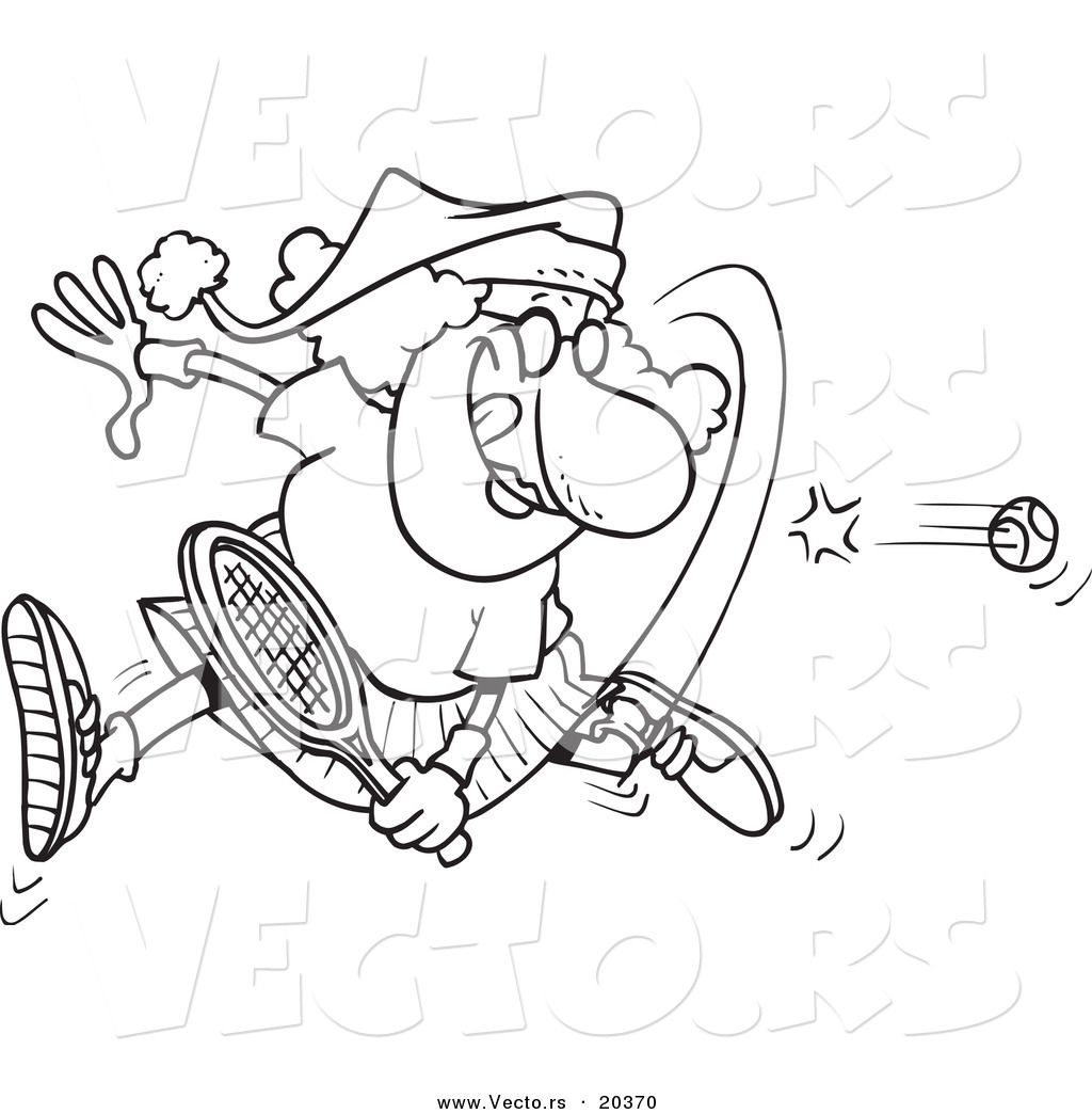 Vector of a Cartoon Mrs Claus Playing Tennis  Coloring Page