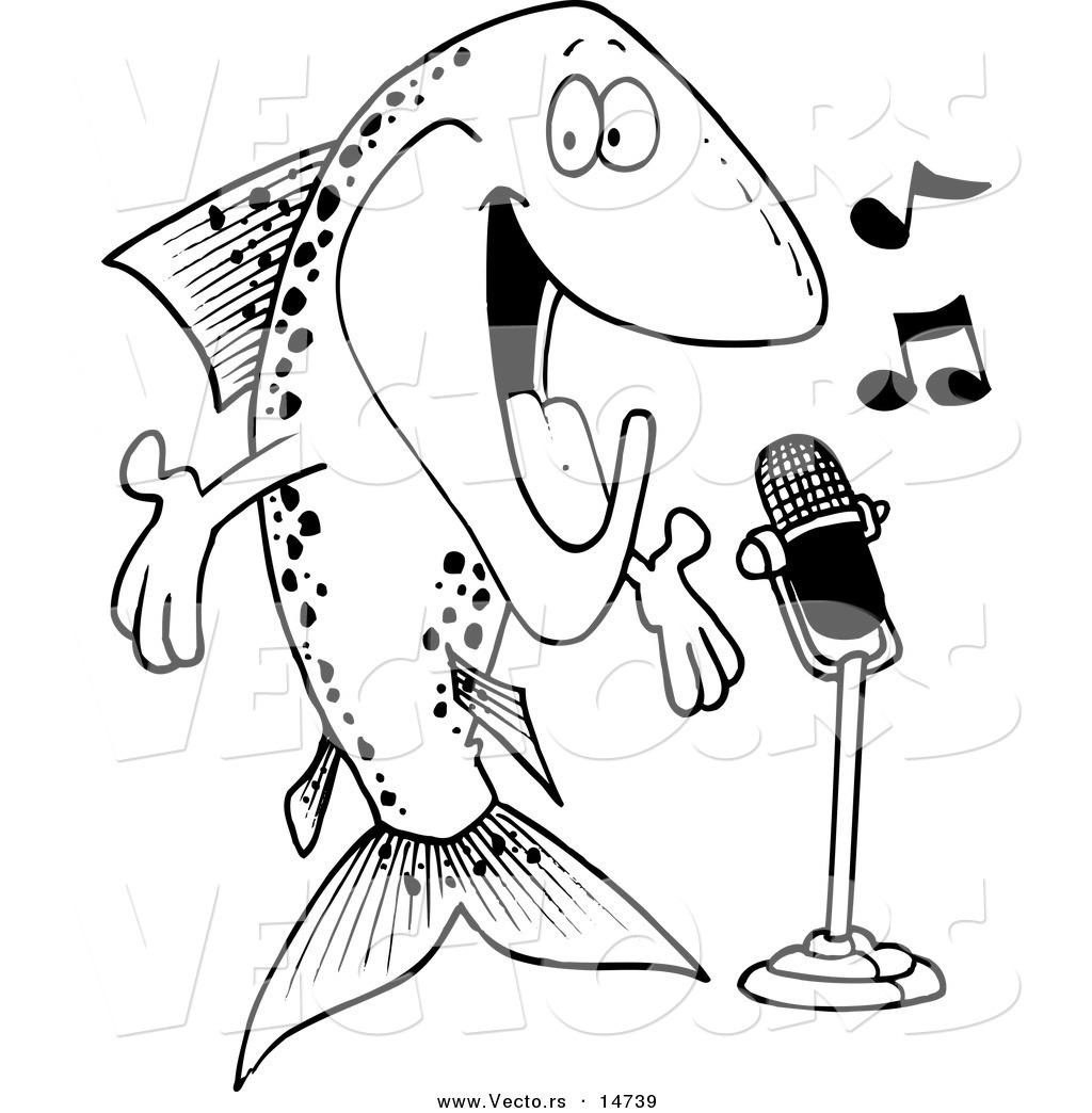 vector of a cartoon musical trout singing coloring page outline
