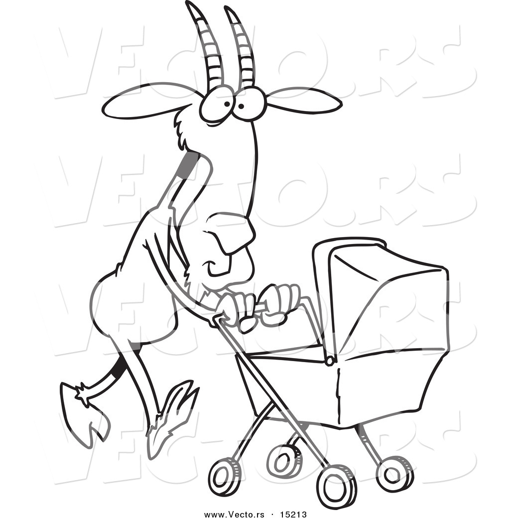vector of a cartoon nanny goat pushing a tram coloring page outline