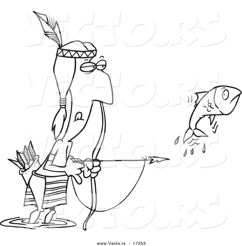 Vector of a Cartoon Native American Man Bow Fishing  Coloring