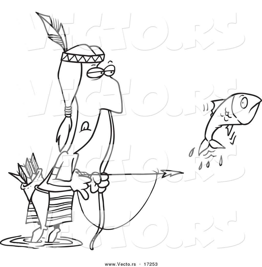 vector of a cartoon native american man bow fishing coloring