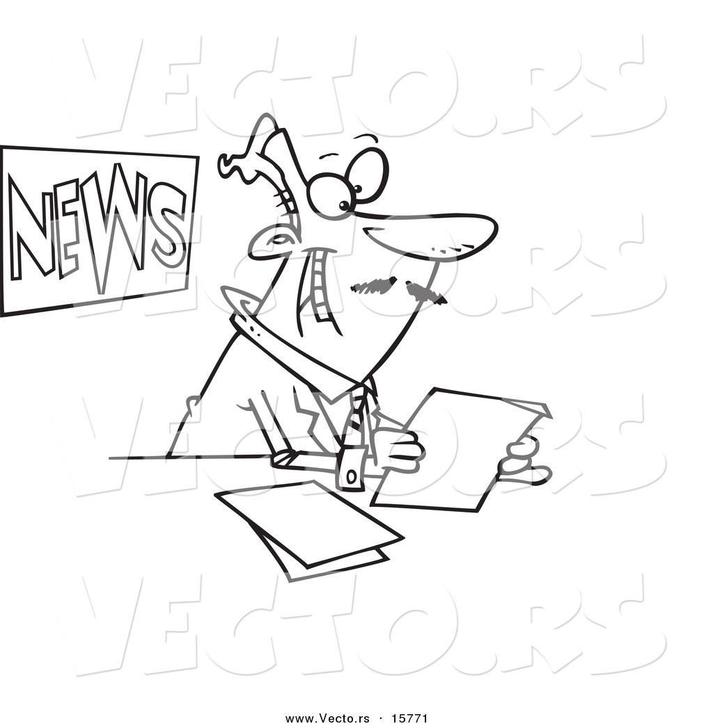 vector of a cartoon news anchorman reading outlined coloring