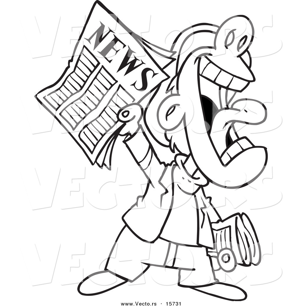 vector of a cartoon news boy yelling an announcement coloring page outline by ron leishman. Black Bedroom Furniture Sets. Home Design Ideas