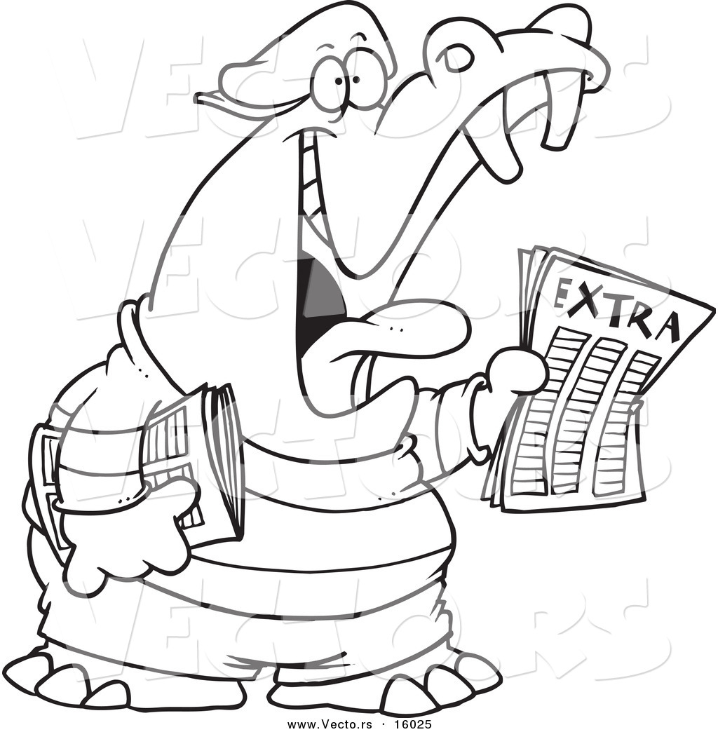 vector of a cartoon newsie hippo outlined coloring page drawing