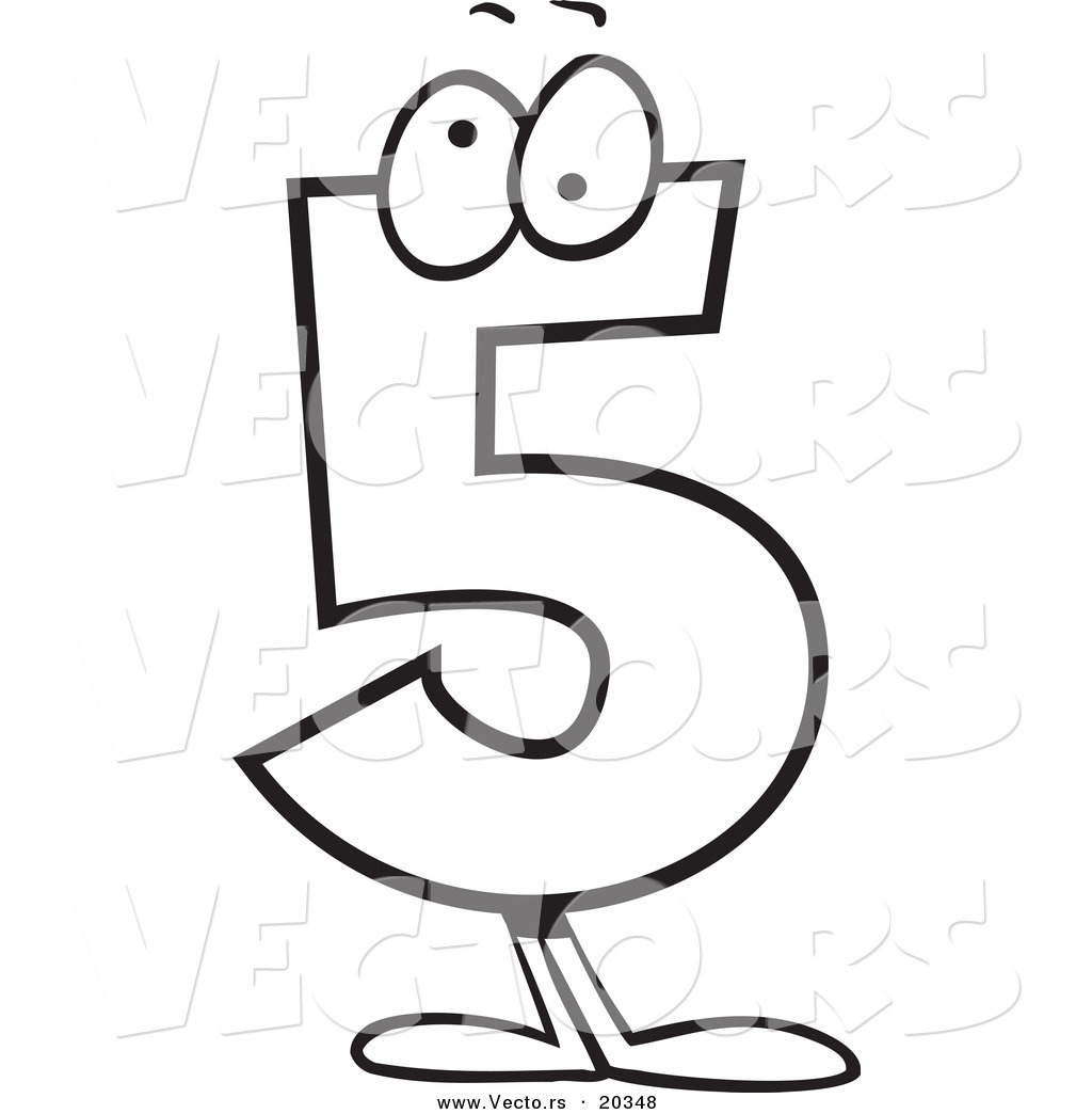 vector of a cartoon number 5 five character coloring page outline