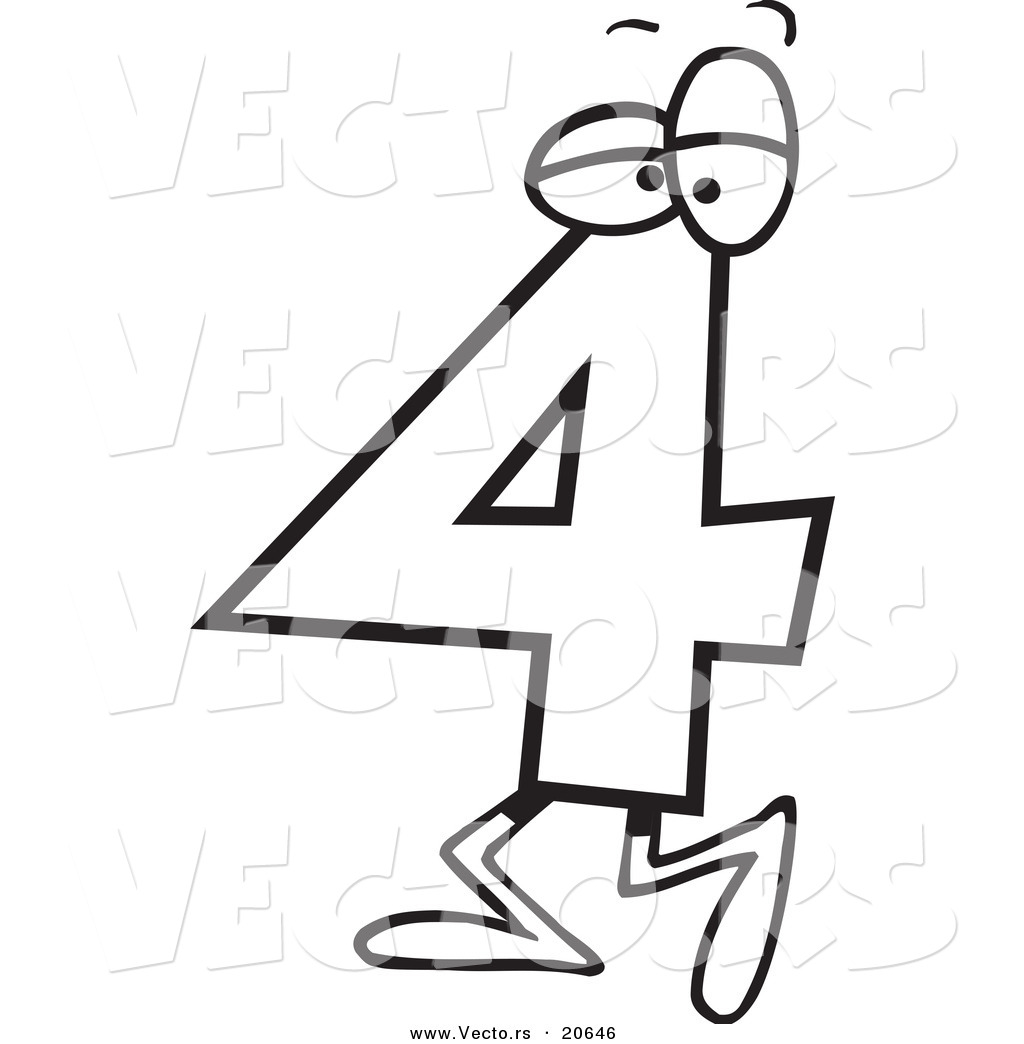 Vector of a cartoon number four 4 character coloring page outline