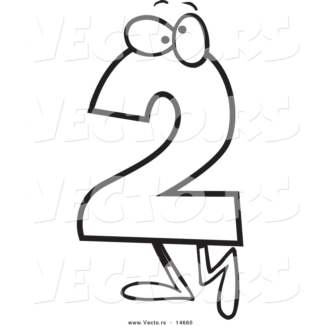 vector of a cartoon number two character coloring page outline