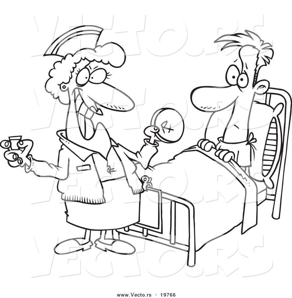 Free coloring pages hospital - Vector Of A Cartoon Nurse Giving A Patient Medication Outlined Coloring Page
