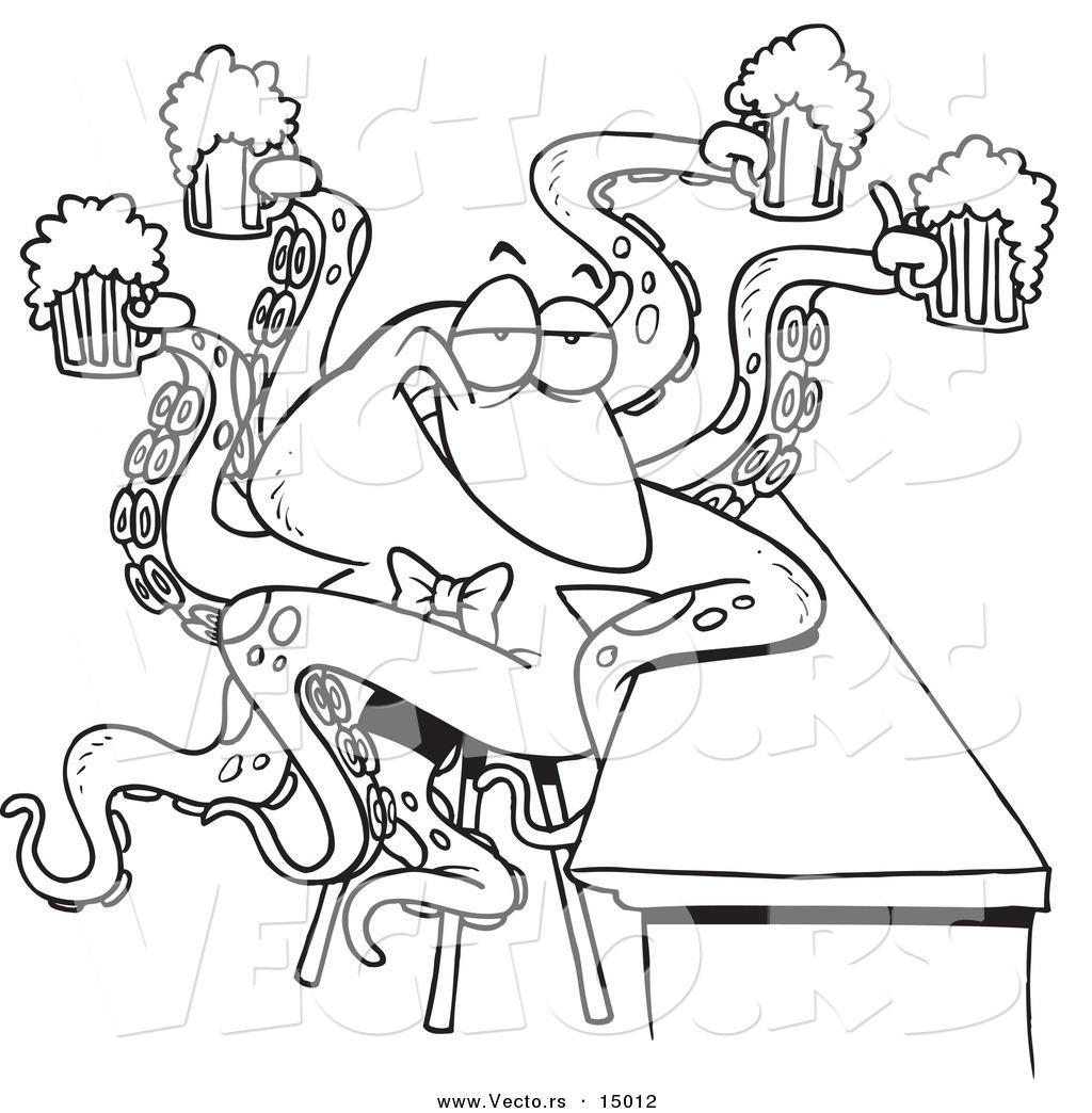 Vector Of A Cartoon Octopus Bartender Serving Beer