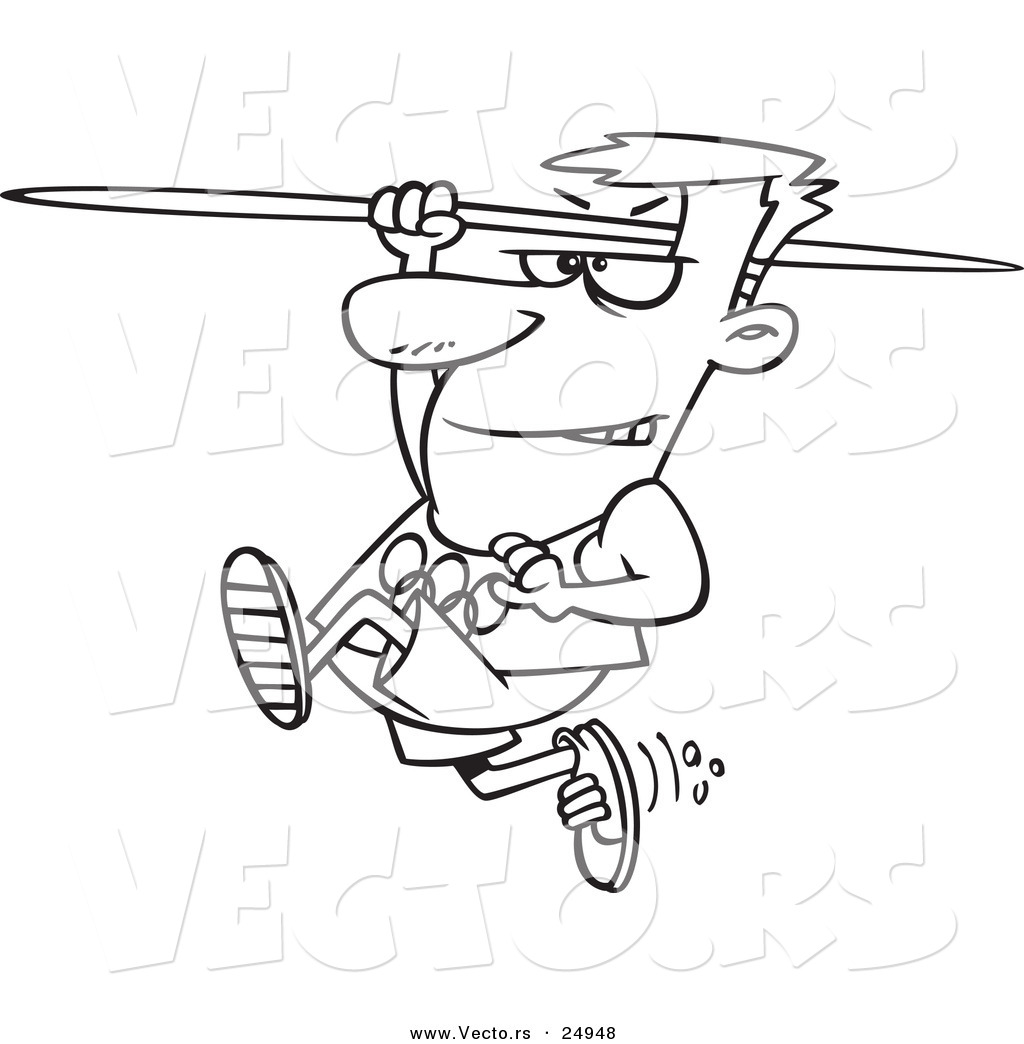 vector of a cartoon olympics track and field javelin thrower man outlined coloring page