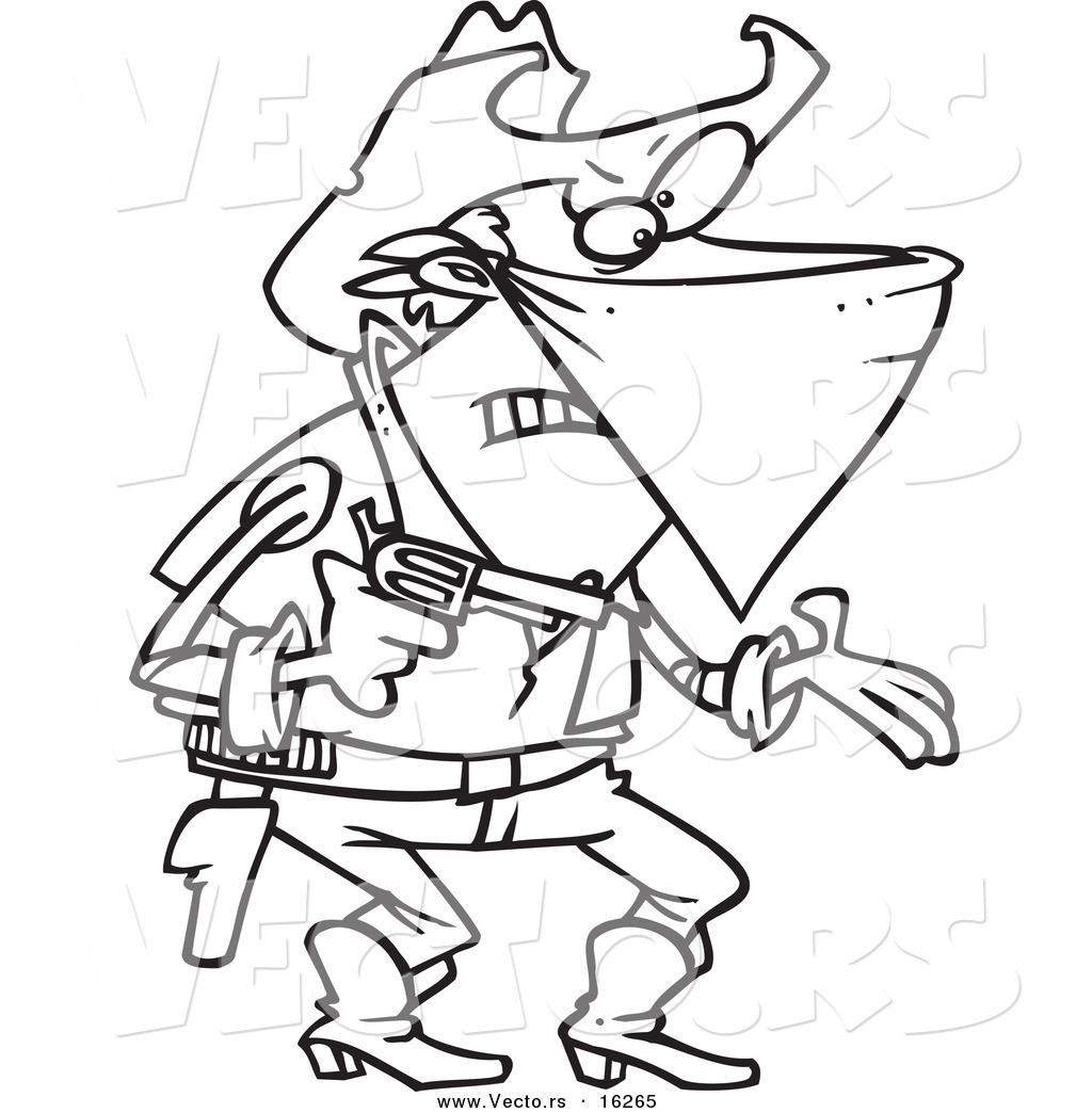 vector of a cartoon outlaw cowboy demanding outlined coloring