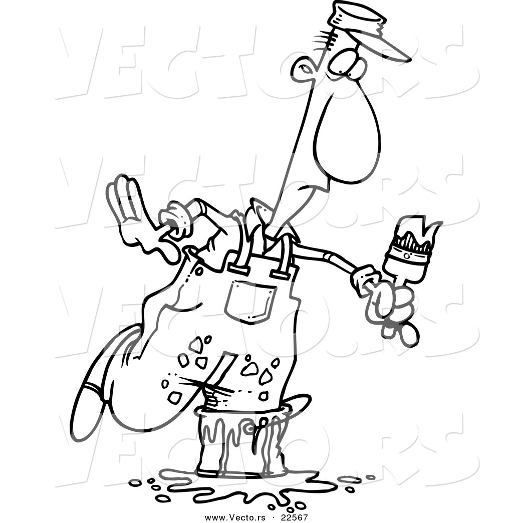Vector of a cartoon painter stepping in a bucket coloring page outline