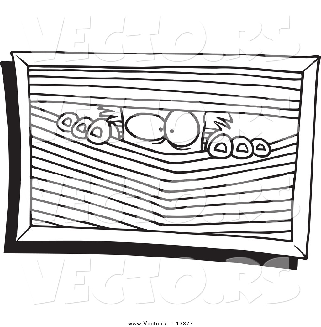 Vector Of A Cartoon Paranoid Man Peeking Through Blinds