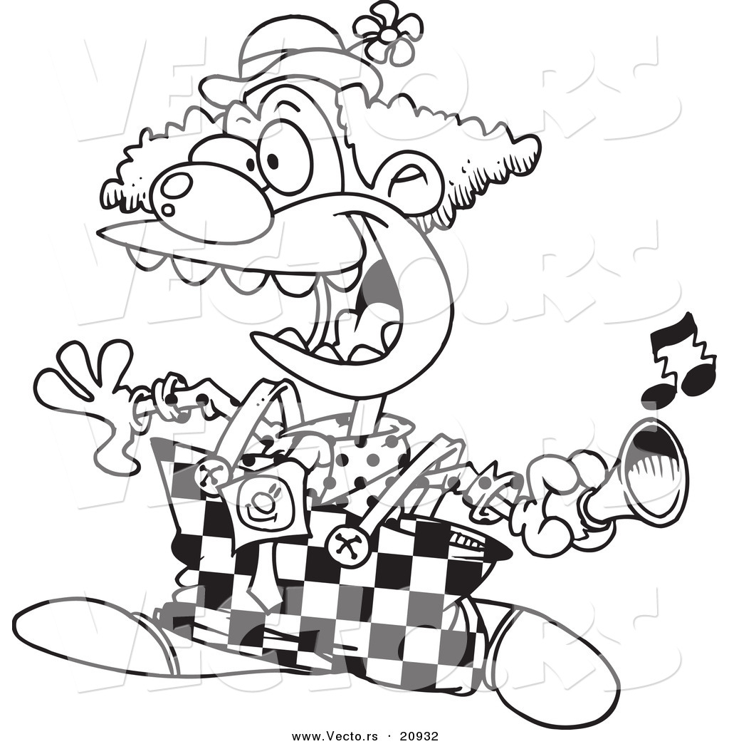 vector of a cartoon party clown using a horn coloring page