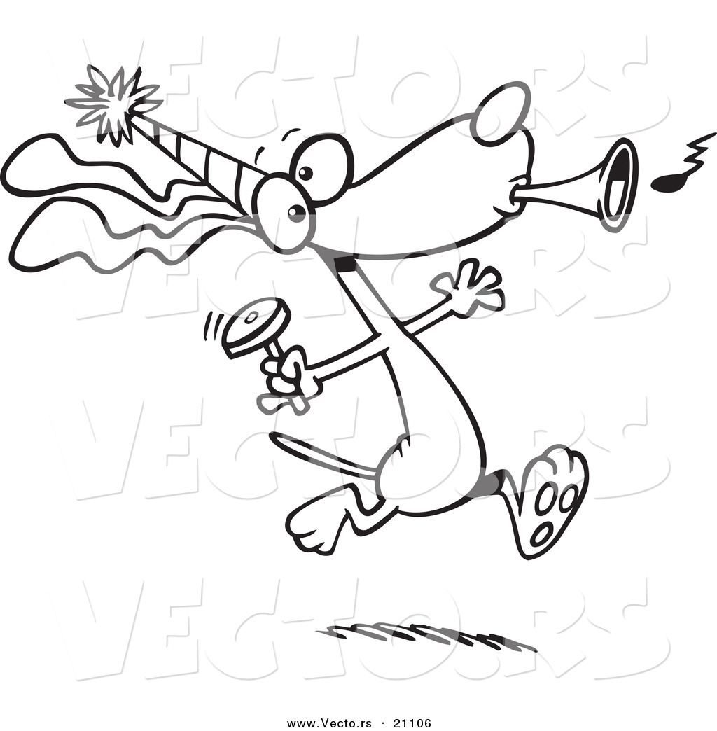 Vector Of A Cartoon Party Dog With Noise Makers Coloring Page