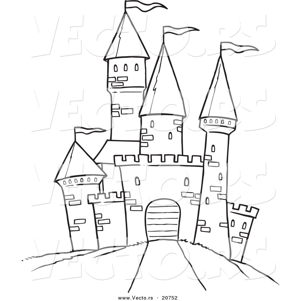 vector of a cartoon path leading to a castle coloring page outline - Castle Coloring Pages