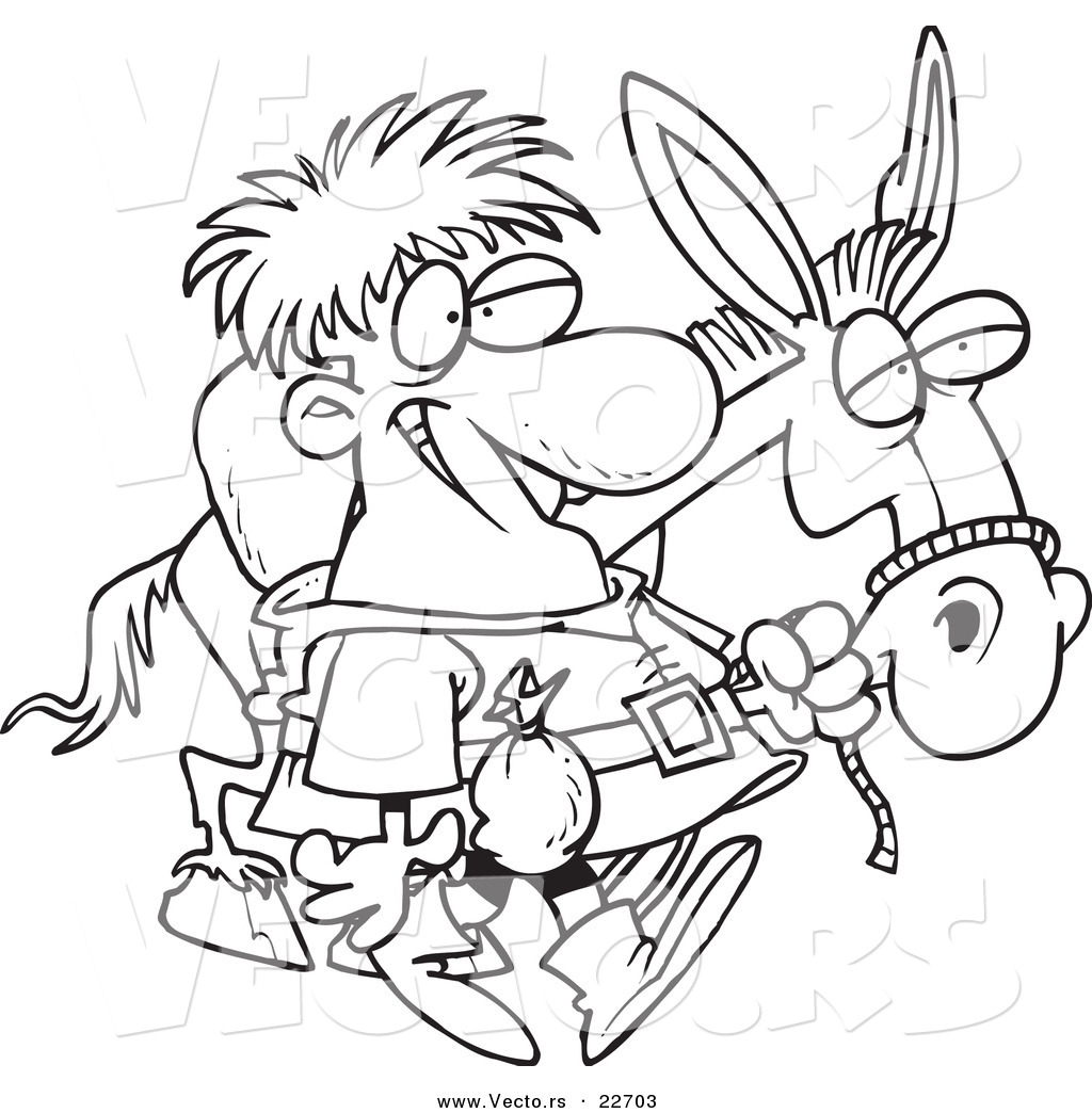 Vector of a Cartoon Peddlar with a Donkey Coloring Page Outline