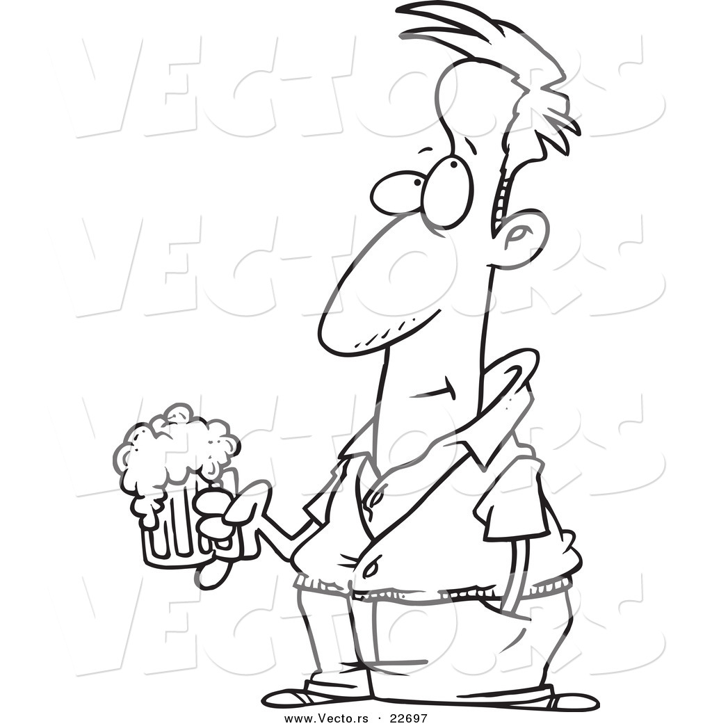 vector of a cartoon pensive man holding a beer coloring page