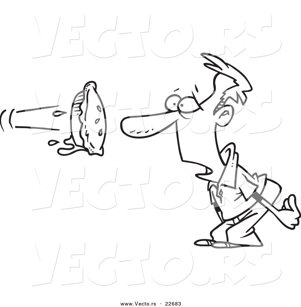 vector of a cartoon pie flying at a man u0027s face coloring page