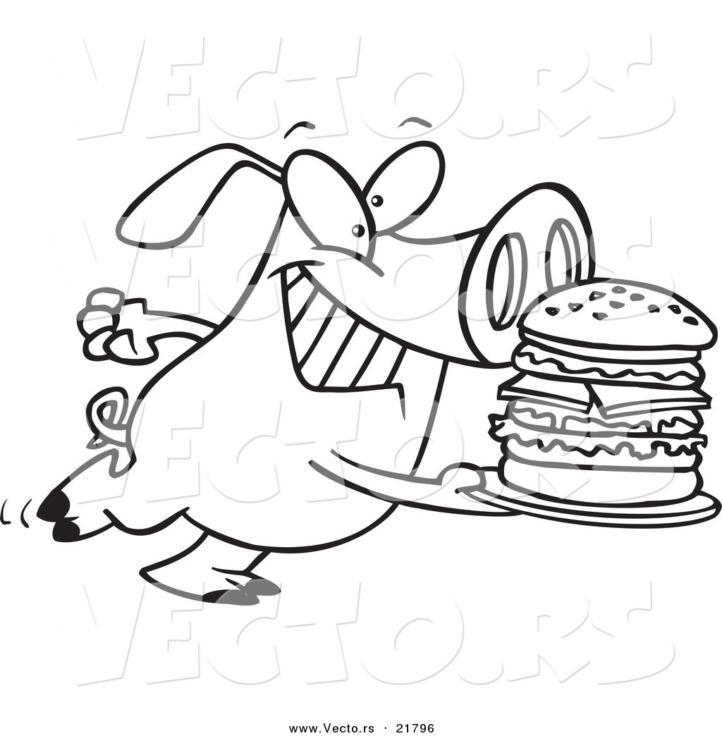 Vector of a cartoon pig carrying a big burger outlined coloring page