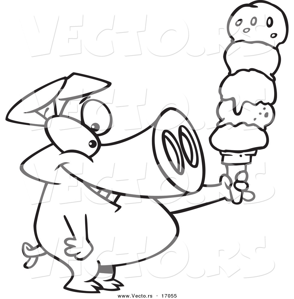 vector of a cartoon pig holding a big ice cream cone coloring